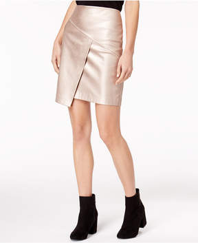 Bar III Faux-Leather Metallic Crossover Skirt, Created for Macy's