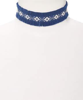 Carole Navy & Ivory Geometric Cloth Choker Necklace