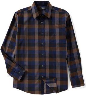 Murano Liquid Luxury Long Sleeve Buffalo Plaid Point Collar Woven Shirt