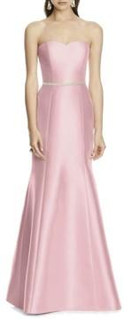 Alfred Sung Women's Strapless Sateen Trumpet Gown