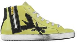 Patrizia Pepe Women's Yellow Leather Hi Top Sneakers.