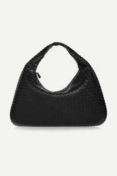Bottega Veneta Veneta Large Intrecciato Leather Shoulder Bag - Black
