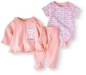 Nannette Newborn Baby Girl Knit Shirt, Knit Creeper And Knit Footed Pant Set