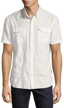 John Varvatos Chest-Pocket Short-Sleeve Sport Shirt