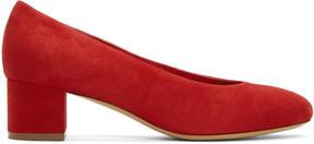 Mansur Gavriel Red Suede Ballerina Pumps
