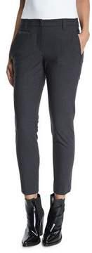 Brunello Cucinelli Slim-Leg Monili-Trim Cropped Pants, Anthracite
