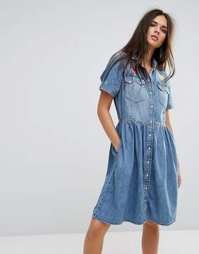 Diesel Denim Dress with Flare Skirt and Embroidery