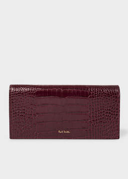 Paul Smith Women's Burgundy Mock-Croc Leather Tri-Fold Wallet
