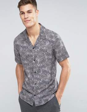 MANGO Man Short Sleeve Shirt In Gray Floral Print