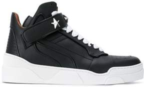 Givenchy Men's Black Leather Hi Top Sneakers.