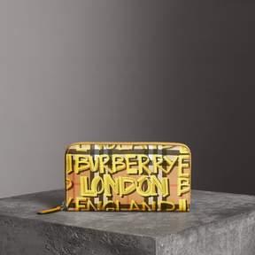 Burberry Graffiti Print Vintage Check Leather Ziparound Wallet