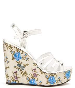 Prada Floral-jacquard leather wedge sandals