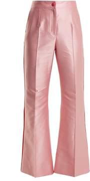 Dolce & Gabbana Contrast-trim high-rise satin trousers