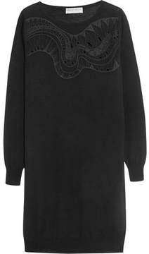 Emilio Pucci Embroidered Silk-Blend Chiffon-Paneled Wool Mini Dress