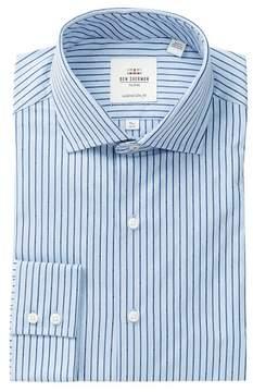Ben Sherman Blue Stripe Print Slim Fit Dress Shirt