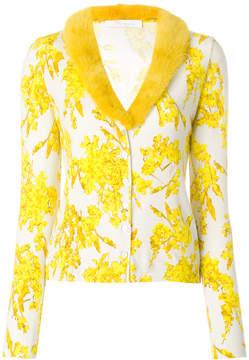 Blumarine faux fur collar printed cardigan