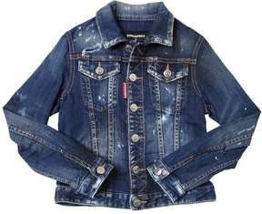 DSQUARED2 Painted Stretch Cotton Denim Jacket