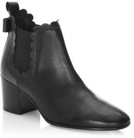 Kate Spade Garden Scalloped Leather Booties