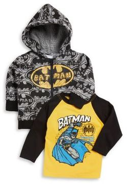 Nannette Baby Boy's Two-Piece Batman Printed Jacket and Cotton Long-Sleeve Tee Set