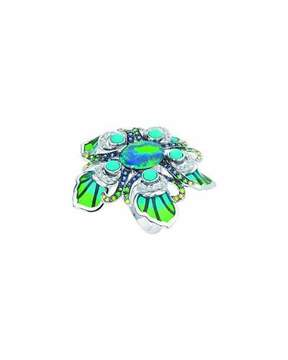 Lalique White Gold Peacock Opal Ring