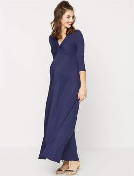 A Pea in the Pod Knot Front Knit Maternity Maxi Dress