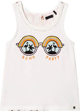 Ikks White Boho Party Sunglasses Print Vest
