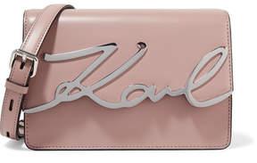 Karl Lagerfeld - K/metal Signature Embellished Leather Shoulder Bag - Beige