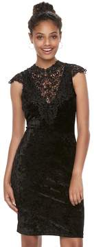 Almost Famous Juniors' Crochet & Velvet Bodycon Dress