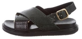 Marni Snakeskin Crossover Sandals