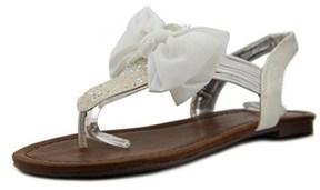 Material Girl Swan Women Open Toe Synthetic White Thong Sandal.