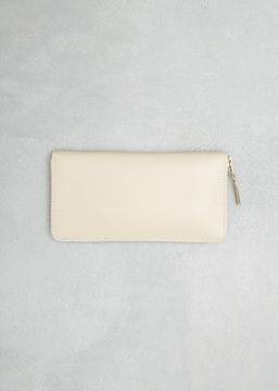 Comme des Garcons WALLET off white classic leather line large zip around wallet