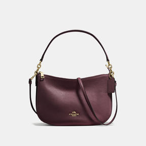 COACH CHELSEA CROSSBODY IN POLISHED PEBBLE LEATHER - f53357 - LIGHT GOLD/OXBLOOD