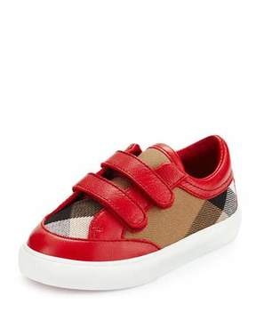 Burberry Heacham Check Canvas Sneaker, Red/Tan, Infant