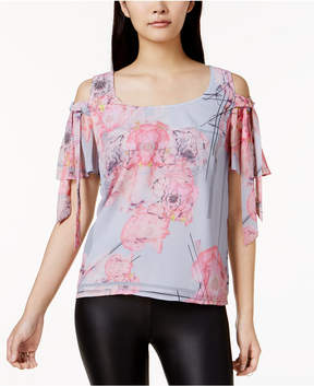 Bar III Floral-Print Cold-Shoulder Top, Created for Macy's