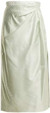 Carolina Herrera High-rise gingham silk midi skirt