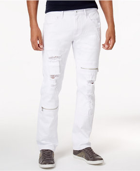 INC International Concepts Men's Slim-Fit Ripped White Jeans, Created for Macy's