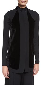 Elie Tahari Liz Long Vest w/ Angled Velvet Panels, Black