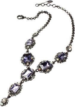 Amrita Singh Purple Austrian Crystal & Gunmetal Katherine Bib Necklace