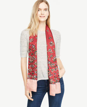 Ann Taylor Shawl Floral Silk Scarf