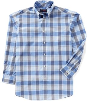 Roundtree & Yorke Travelsmart Long-Sleeve Large Plaid Sportshirt