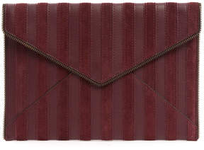 Rebecca Minkoff Suede Leather Stripe Leo Clutch - BURGUNDY - STYLE