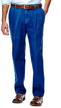 Haggar Men's Work to Weekend® Classic-Fit Pleated Denim Pants