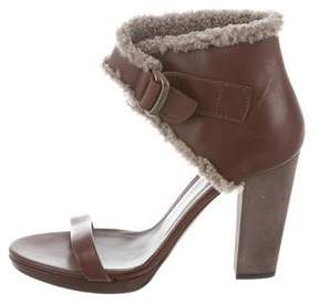 Brunello Cucinelli Shearling-Trimmed Ankle Strap Sandals w/ Tags