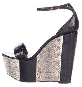 Roberto Cavalli Snakeskin Wedge Sandals