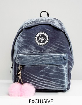 Hype Exclusive Gray Velvet Backpack With Pink Pom