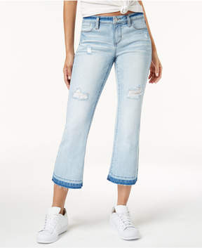 Dollhouse Juniors' Ripped Cropped Flare Jeans