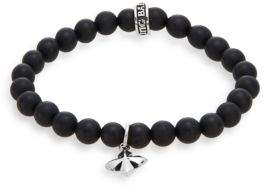 King Baby Studio Onyx & Sterling Silver Beaded Cross Charm Bracelet