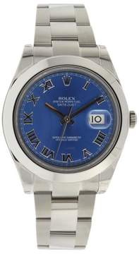 Rolex Datejust 2 116300 Oyster Stainless Steel Blue Roman Dial Smooth Bezel Mens Watch