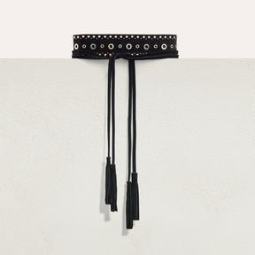 Maje Wide tie belt with eyelets