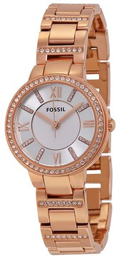 Fossil Virginia Silver Dial Rose Gold-tone Ladies Watch